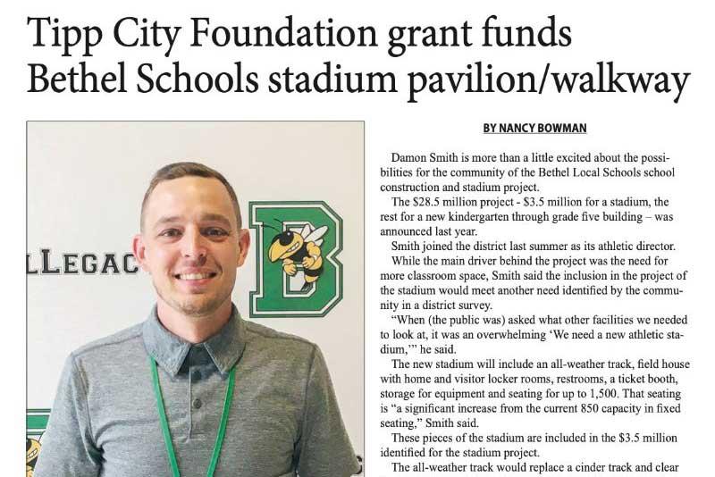 Tipp City Foundation Grant Funds Bethel Schools Stadium Pavillion / Walkway